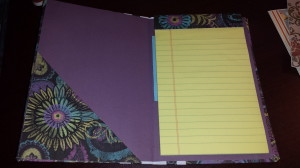 purple notebook inside